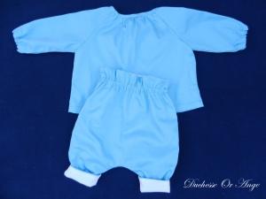 DOA 137 c ensemble bébé chemise pantalon bleu ciel sky blue baby set shirt trousers
